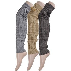 Accessories - Knit Thigh High Leg Warmers with Pom Poms